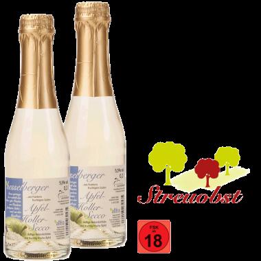 2 mal 0,2 Liter Apfel-Holler-Secco, halbtrocken