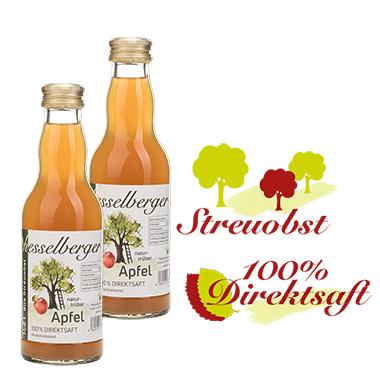 2 mal 0,2 Liter Apfel-Direktsaft, natürtrüb, vegan