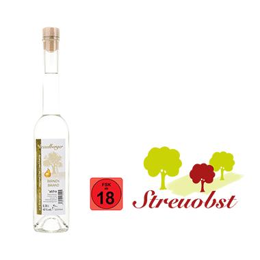 1 Flasche 0,35 Liter Birnenbrand aus Streuobstbirnen