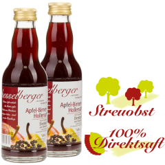 2 mal 0,2 Liter Apfel-Birne-Holunder 100% Frucht